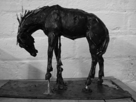 Rodeo Horse study 3, wax, maquette
