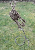 Leaping  willow Hare on steel spiral