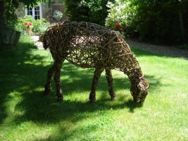 Sheep 2 grazing, life size, willow