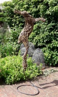 Larger than life size, Willow Boxing Hare on spiral