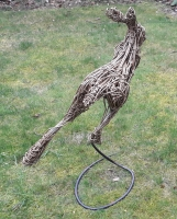 Leaping willow  Hare on steel spiral.