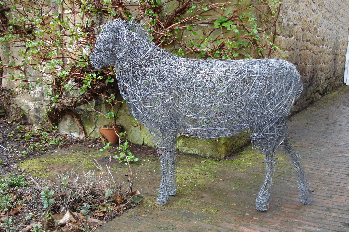 Ram, life size, painted steel wire