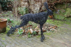 Standing hare, life size, painted wire
