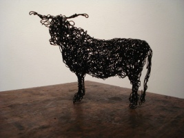 Wire Highland Cow, maquette, painted wire