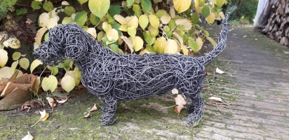 Wire haired Dachshund 'Bert' a life size, patinated wire dog sculpture
