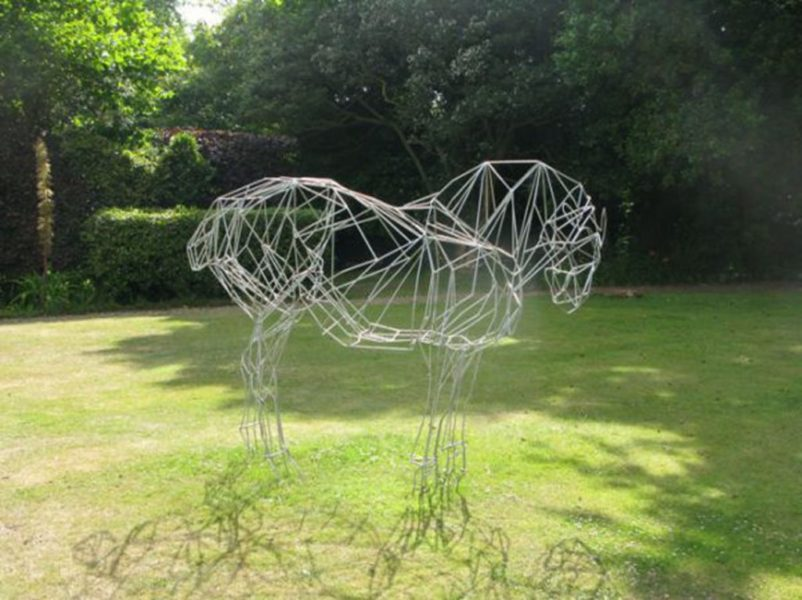 Suffolk Punch horse, life size, painted mild steel bar