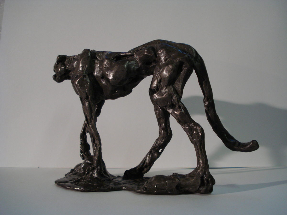 cheetah cat bronze, cat sculpture, wild cat sculpture, bronze wild cat, cheetah sculpture