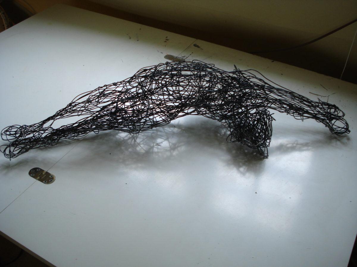 cat sculpture, wire cat, domestic animal sculpture, life size cat sculpture