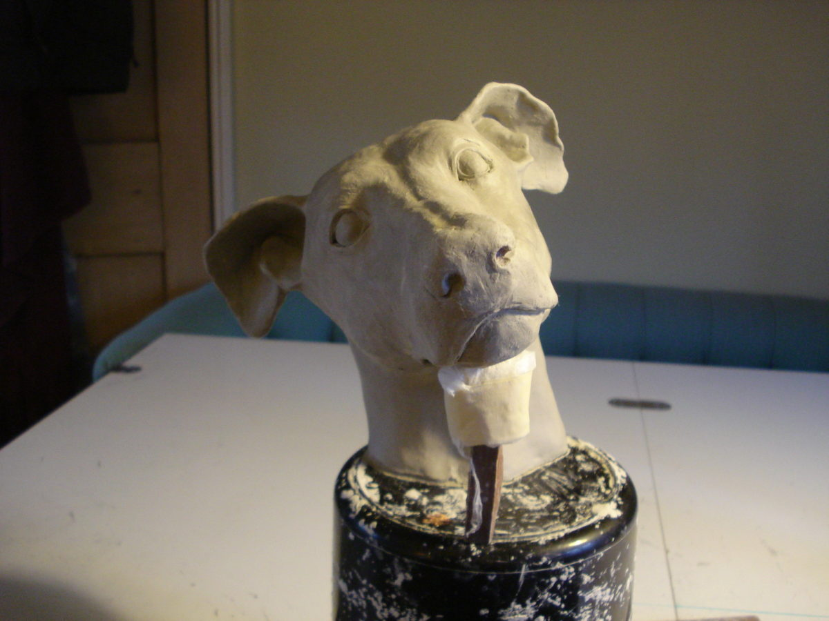 whippet dog head, clay dog head, life size whippet dog head, whippet dog clay model
