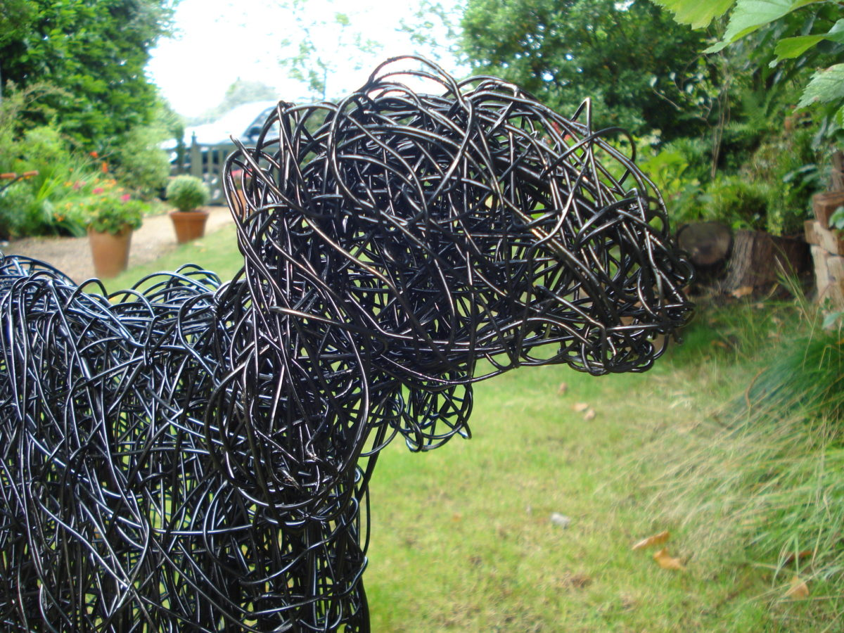 sheep sculpture, wire sheep, sheep life size sculpture, sheep garden sculpture