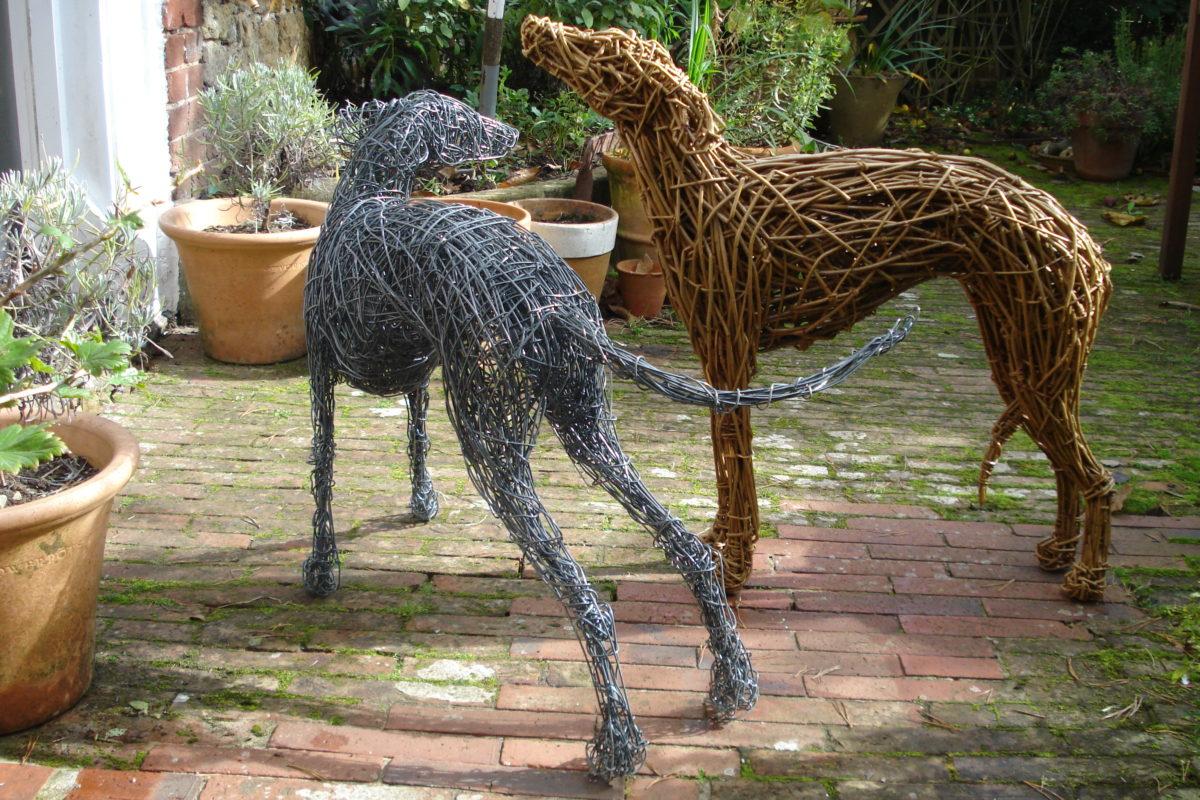 whippet dogs, dog sculpture, whippet dog sculptures, garden dog sculpture, wire dog, whippet sculpture, metal dog sculpture, willow dog sculpture