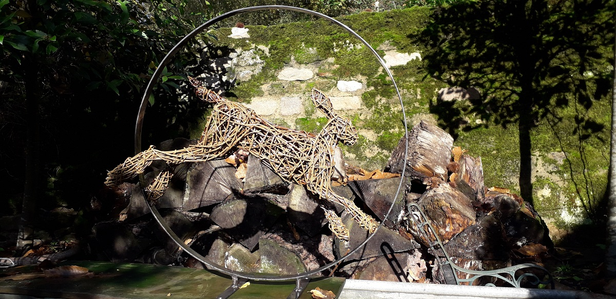hare leaping, hare garden sculpture, willow hare, and steel hare for outside