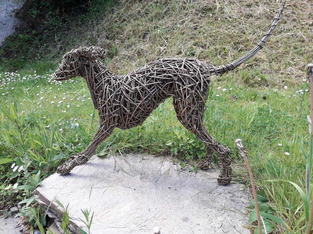 Italian greyhound dog sculpture, willow and steel, garden dog sculpture