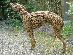 Whippet Dog, life size, willow.