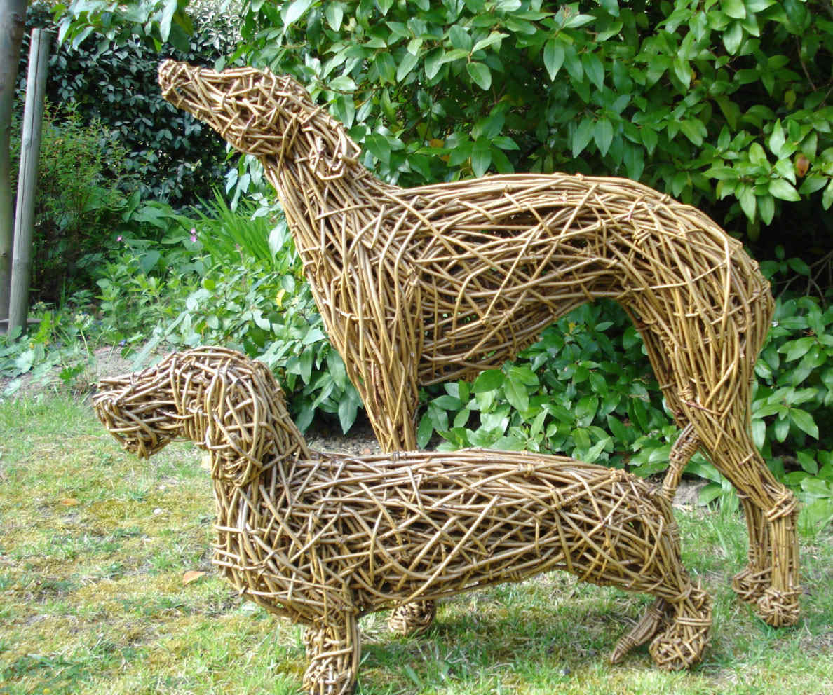 Whippet and Dachshund Dogs, life size, willow.