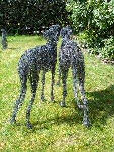 Pair of Whippet Dogs, life size, painted wire.