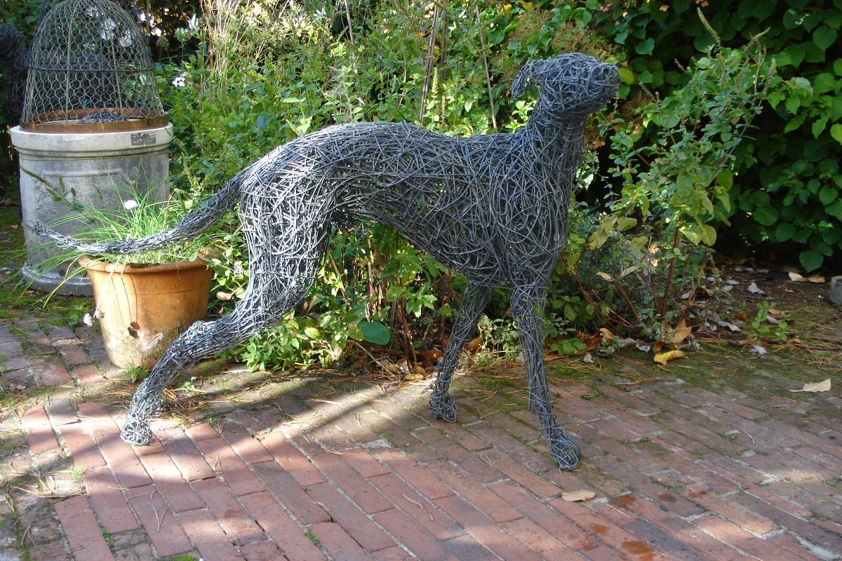 wire garden dog sculpture, whippet sculpture, garden whippet sculpture, whippet dog sculpture