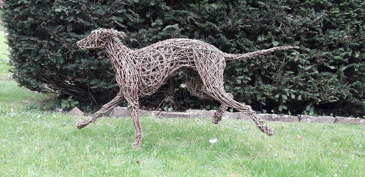 lurcher running dog sculpture, willow and steel lurcher dog, garden dog sculpture