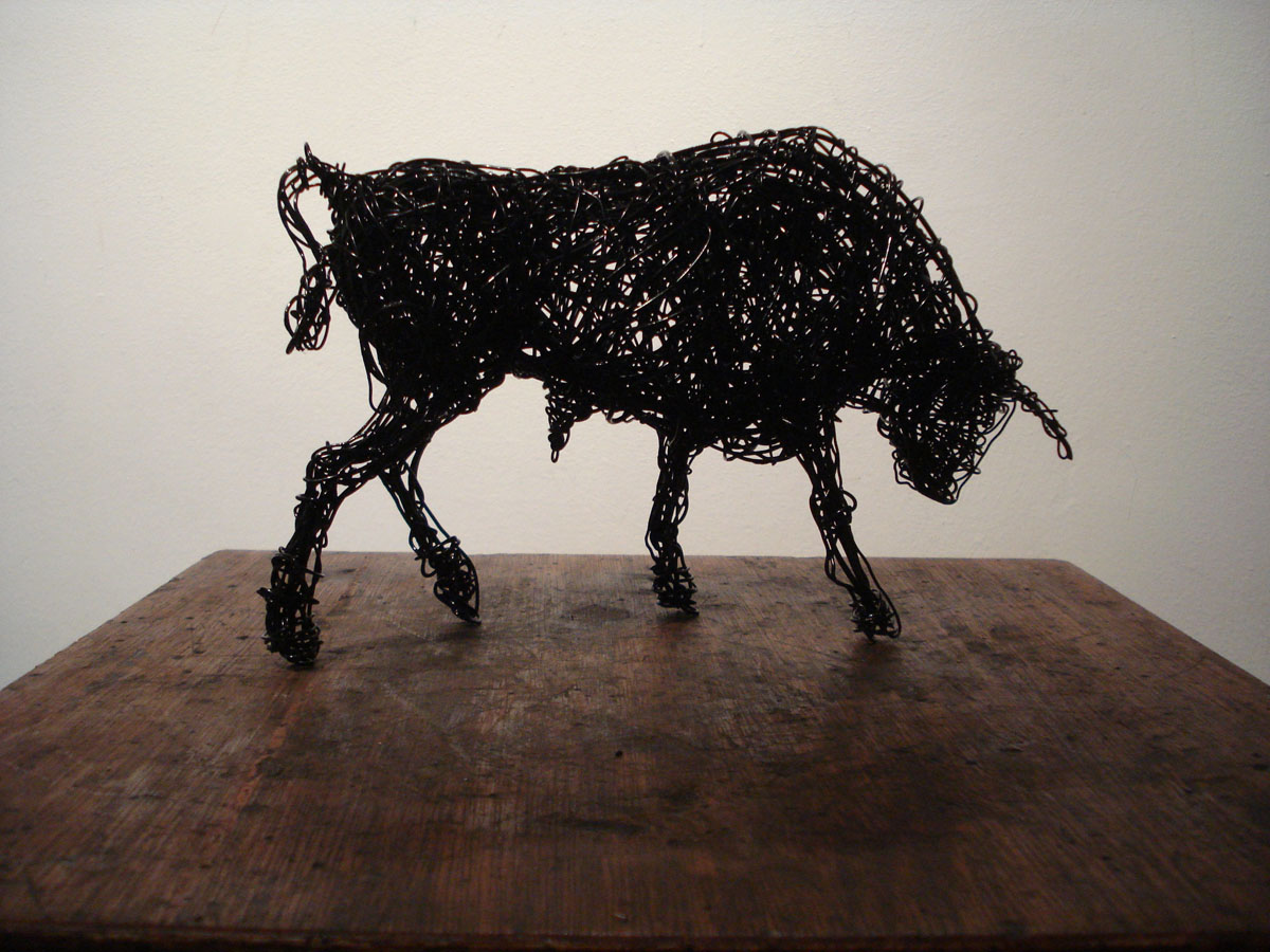 Bull study, maquette, painted wire.