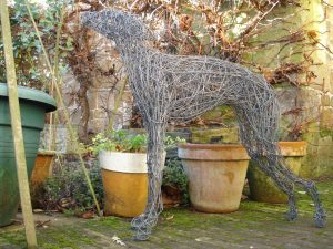 Standing Whippet Dog, life size, painted wire.
