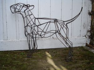 Bull Terrier Dog, mild steel bar, life size.