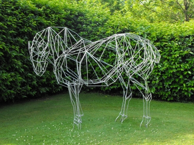 horse sculpture, steel horse sculpture, garden sculpture, equine sculpture