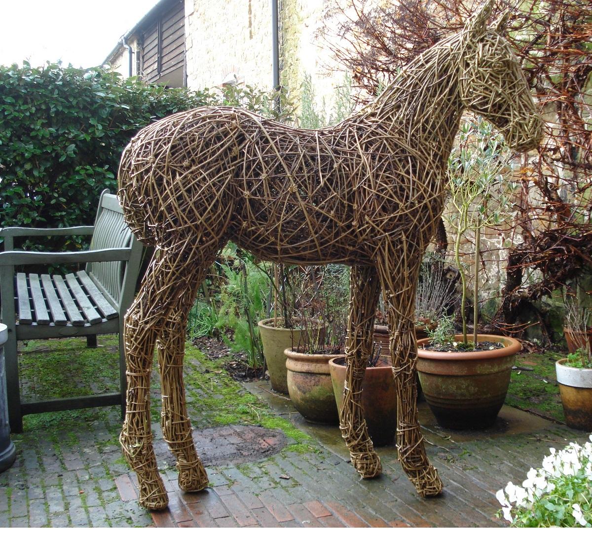 willow foal sculpture, outdoor willow foal, horse sculpture, willow horse, garden equine sculpture, willow sculpture