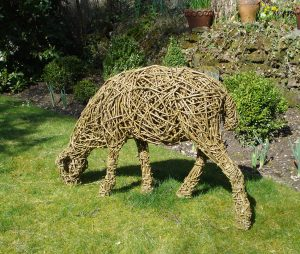Sheep 4, life size, willow/steel