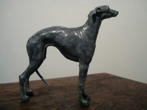 Whippet Dog, bronze, maquette.