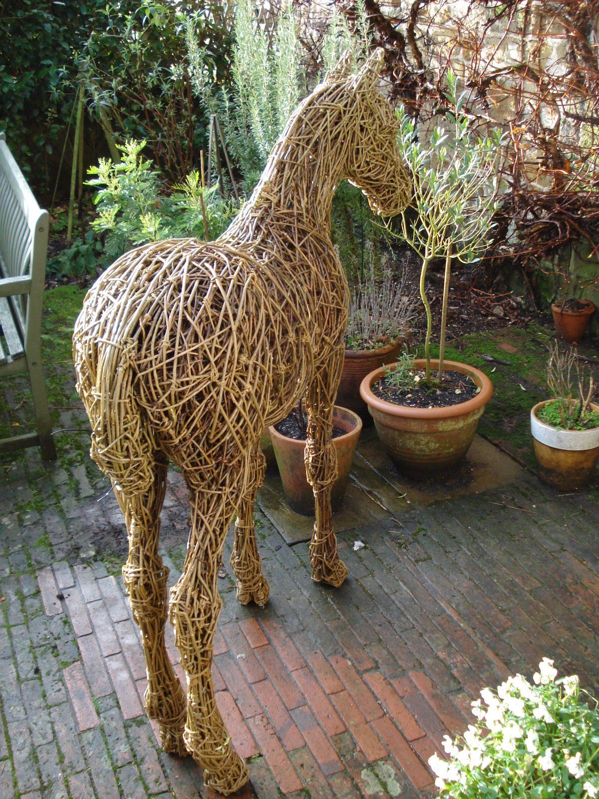 Foal, horses, willow, steel,animal sculpture