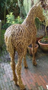 foal sculpture, willow, life size, horses
