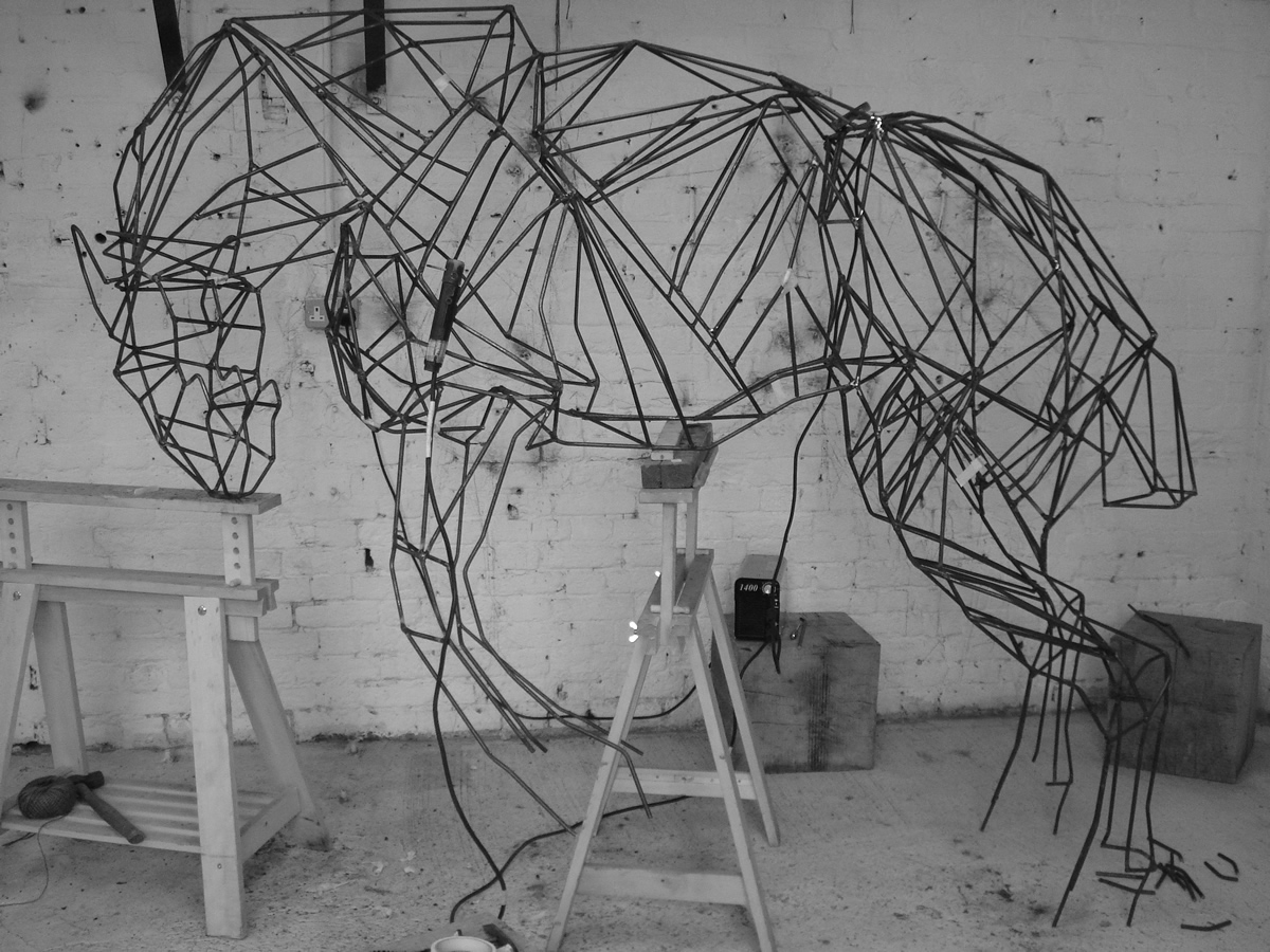 Bronco Horse, life size, steel bar, work in progress.
