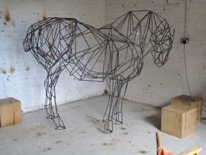 Suffolk Punch Horse, life size, painted steel bar.