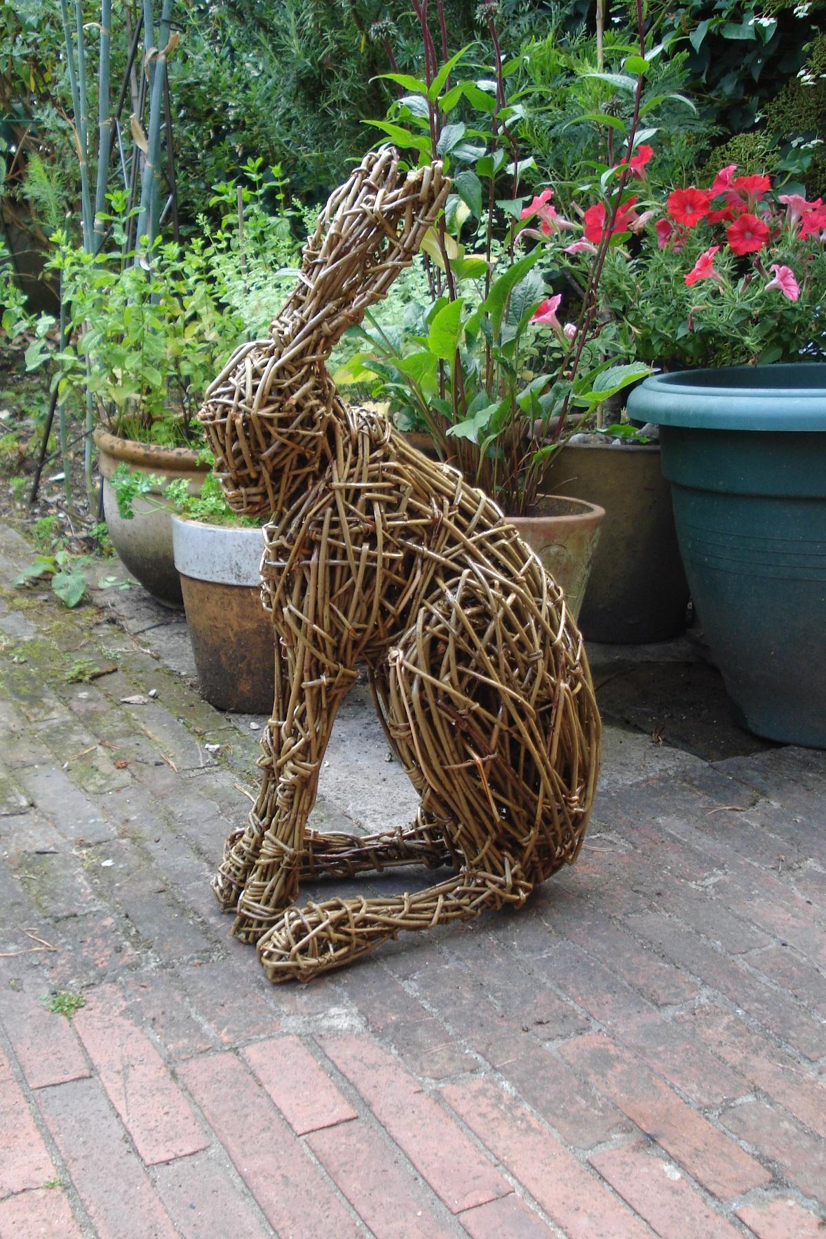 willow hare, garden hare, garden sculpture, hares