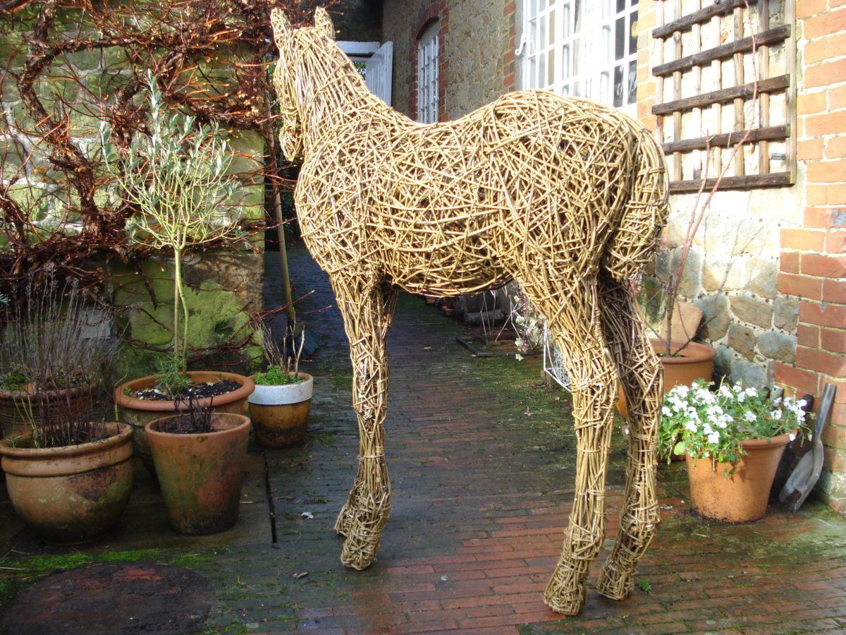 foal sculpture, life size foal sculpture, willow foal, willow horse, equine sculpture