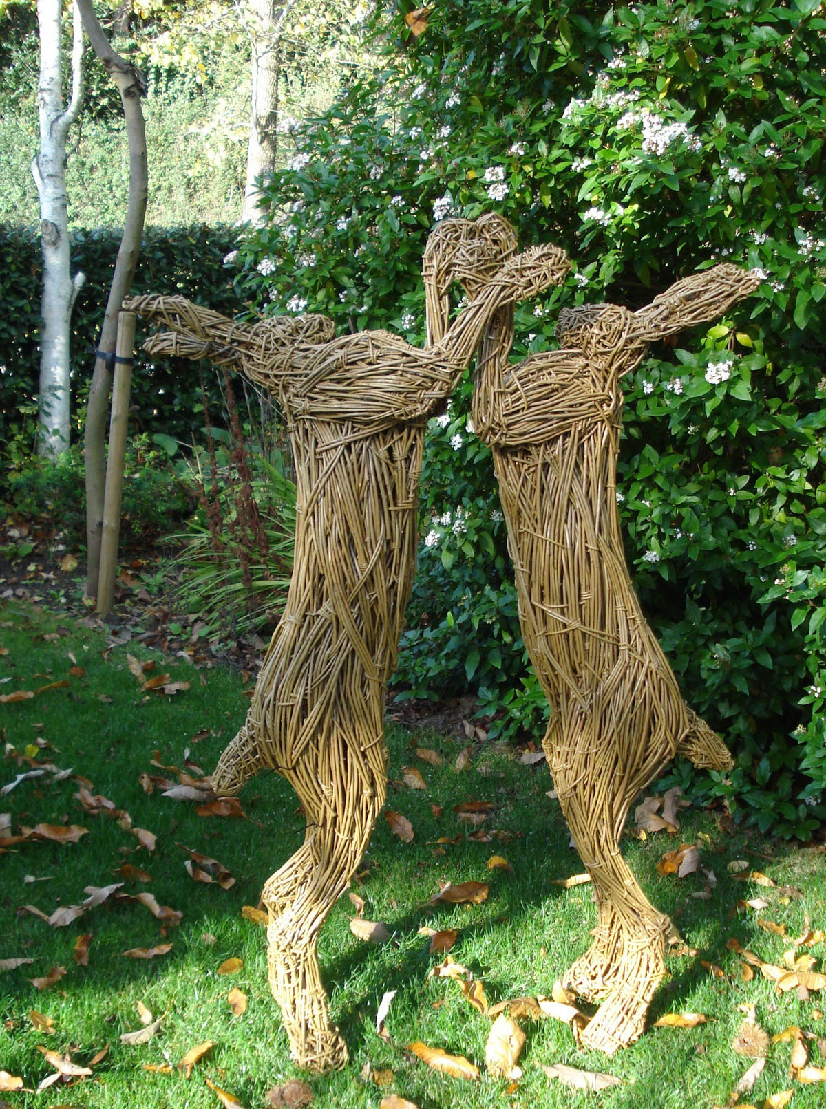 Giant Boxing Hares, willow/steel.