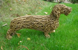 Dachshund Dog, life size, willow.