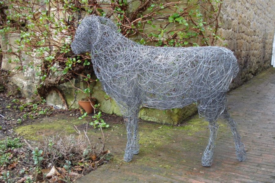 Ram, life size, wire/stainless steel