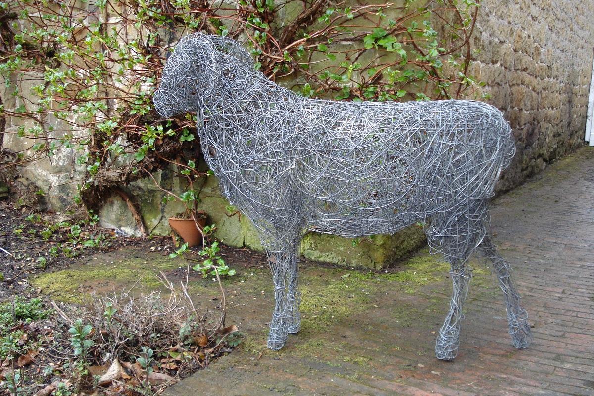 ram sculpture, garden sheep sculpture, ram sheep, metal sheep sculpture, steel animal sculpture, outdoor sheep sculpture